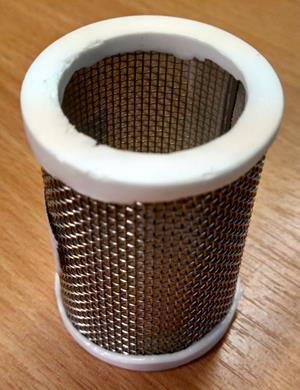35 micron filter with support mesh and cast silicone gaskets.