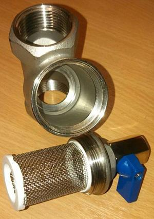 1mm filter with silicone seals and cleaning valve.